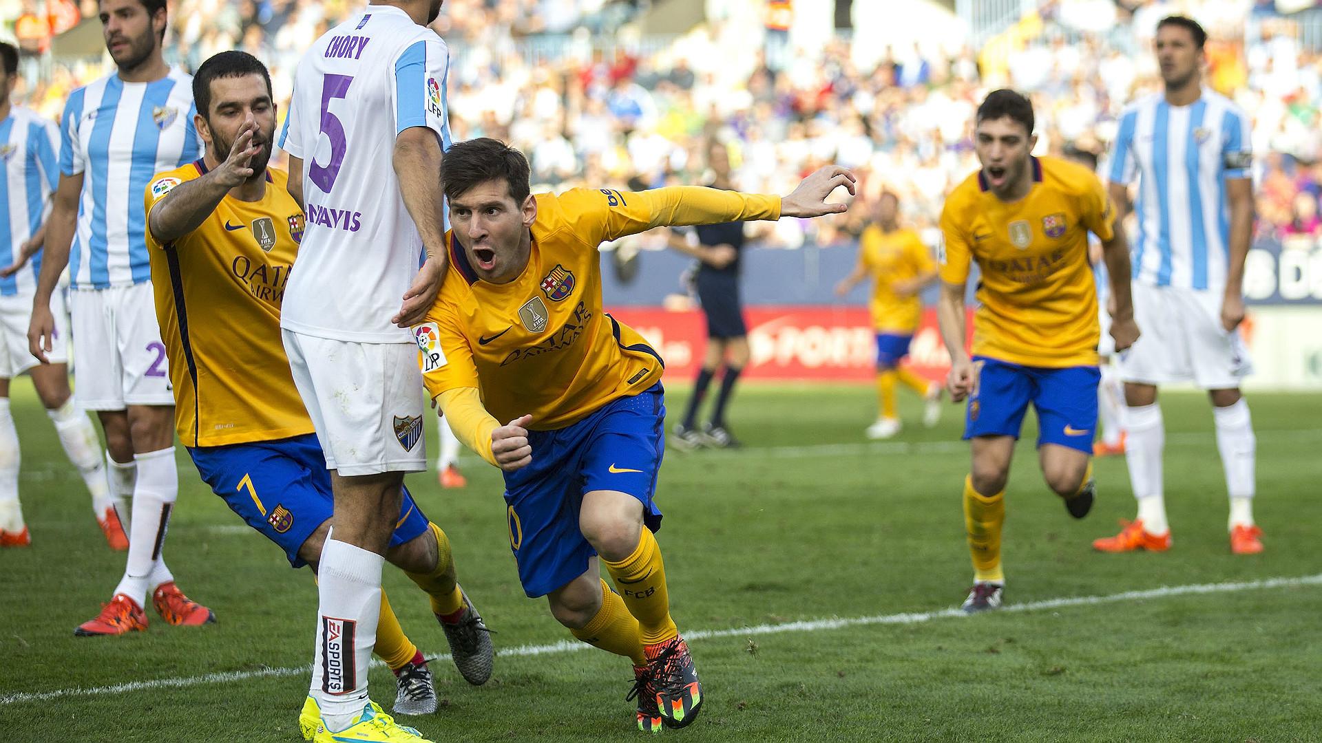 Lionel Messi Arda Turan Malaga Barcelona La Liga 23012016