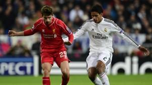 Raphael Varane Fabio Borini Real Madrid Liverpool UEFA Champions League 11042014