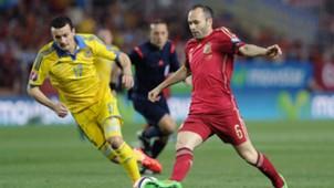 Andres Iniesta Artem Fedetskiy Euro 2016 qualifying Spain v Ukraine