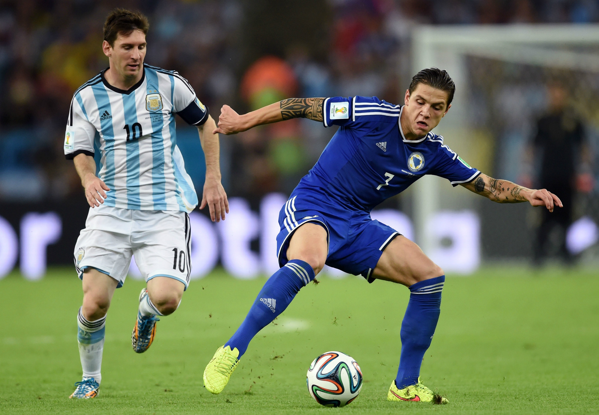 Lionel Messi Muhamed Besic Argentina Bosnia World Cup