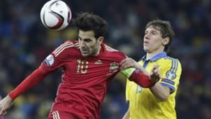 Denis Garmash Cesc Fabregas Ukraine Spain Euro Qualifier
