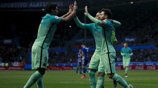 Luis Suarez Messi Neymar Alaves Barcelona LaLiga 11020217
