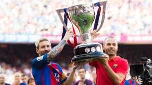 Lionel Messi Andres Iniesta Barcelona La Liga trophy