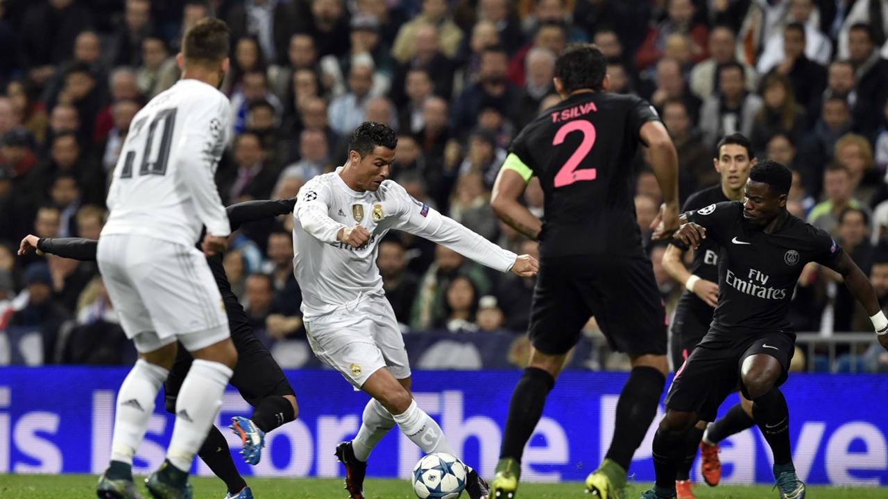 Cristiano Ronaldo Thiago Silva Real Madrid PSG Champions League 03112015