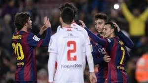 16/12/2014 | Barcelona 8-1 Huesca (Pedro x3, Sergi Roberto, Iniesta, Adriano, Adama Traoré, Sandro, Carlos Moreno) | Copa del Rey