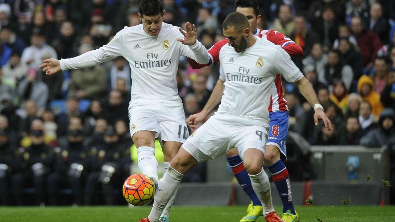 James Rodriguez Karim Benzema Real Madrid Sporting Gijon La Liga