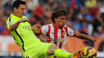 Lionel Messi Sebastian Dubarbier Almeria Barcelona Liga BBVA 11082014