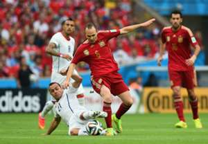 Andres Iniesta Marcelo Diaz Spain Chile 2014 World Cup Group B 06182014