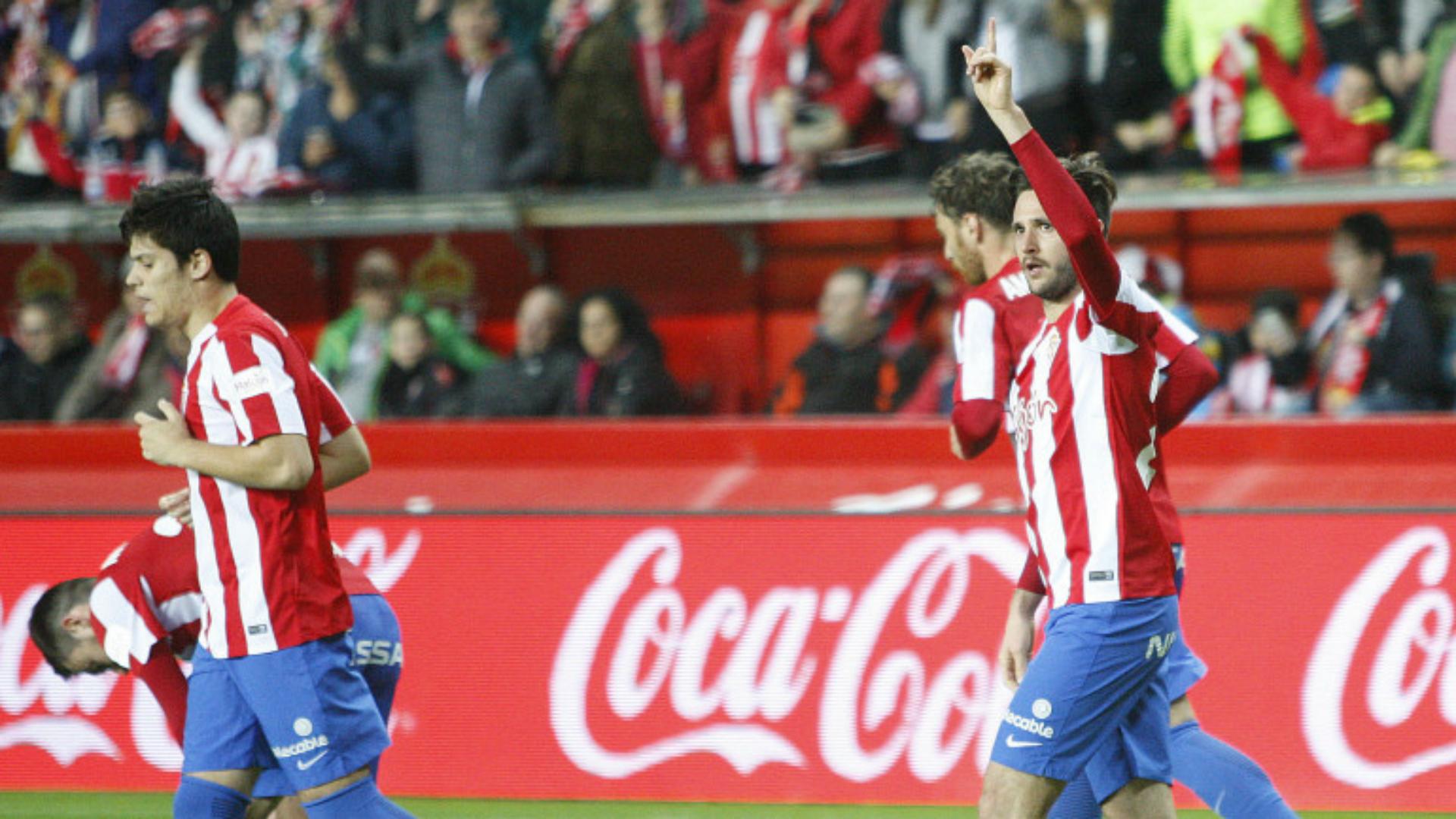 Sporting Gijon celebrates Sporting Gijon Real Sociedad La Liga