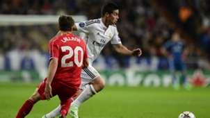 James Rodriguez Adam Lallana Real Madrid Liverpool UEFA Champions League 11042014