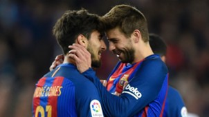 Andre Gomes Gerard Pique Barcelona Valencia La Liga