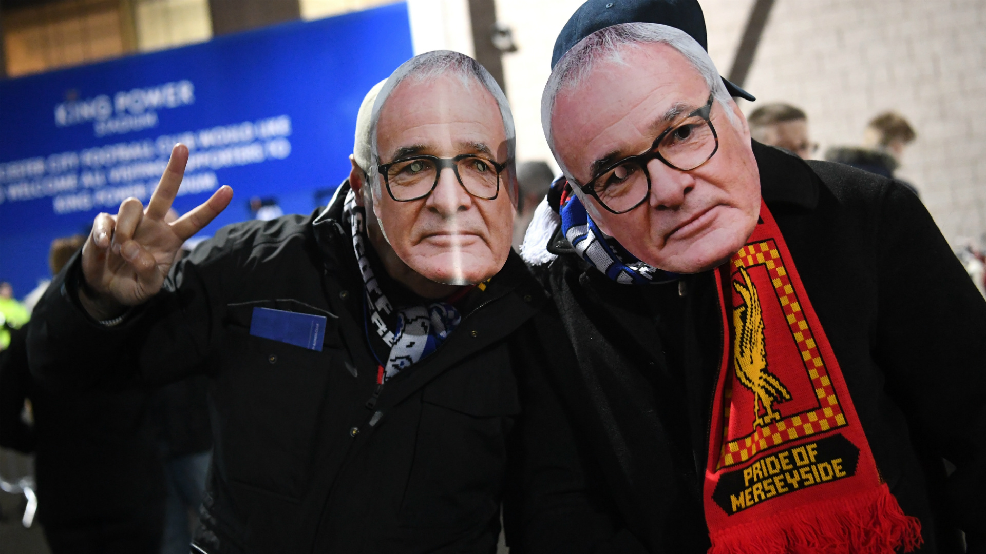 Fans with faces of Ranieri Leicester Liverpool Premier League 20170227