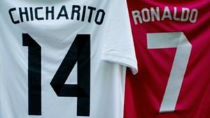 Javier Chicharito Hernandez and Cristiano Ronaldo shirts Real Madrid Ludogorets UEFA Champions League 12092014