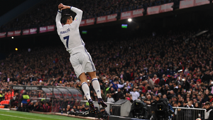 Cristiano Ronaldo celebrates Atletico Madrid Real Madrid La Liga