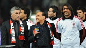 Carlo Ancelotti Silvio Berlusconi Paolo Maldini Ac Milan 13012014