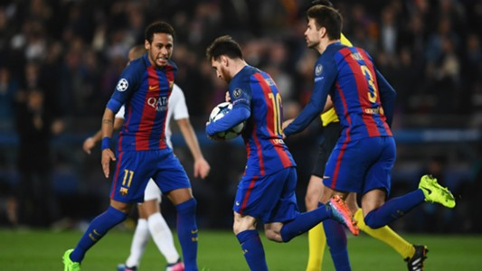 Lionel Messi Neymar Pique Barcelona PSG UEFA Champions League 08032016