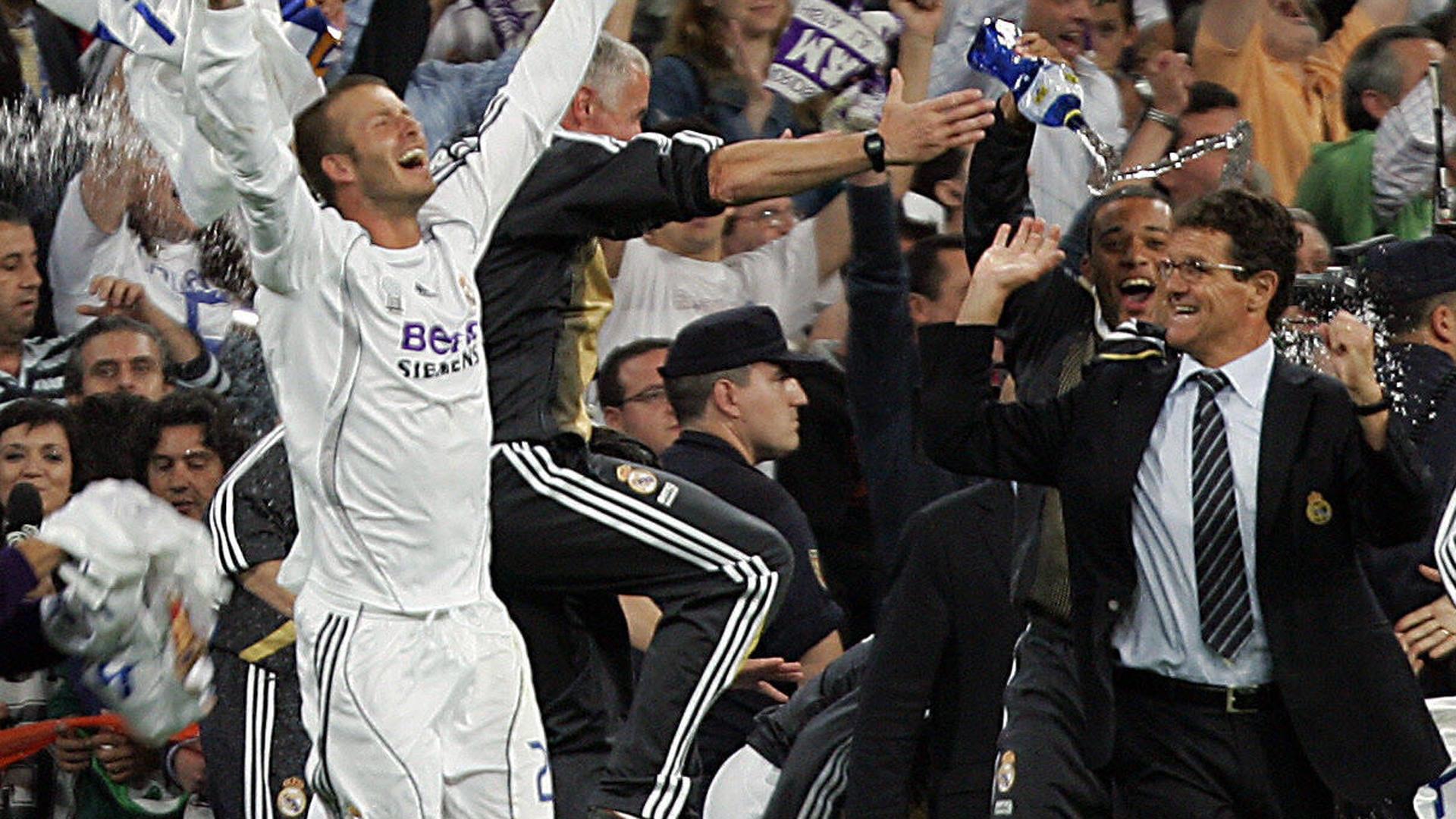 David Beckham Fabio Capello Real Madrid win Liga trophy at 2007
