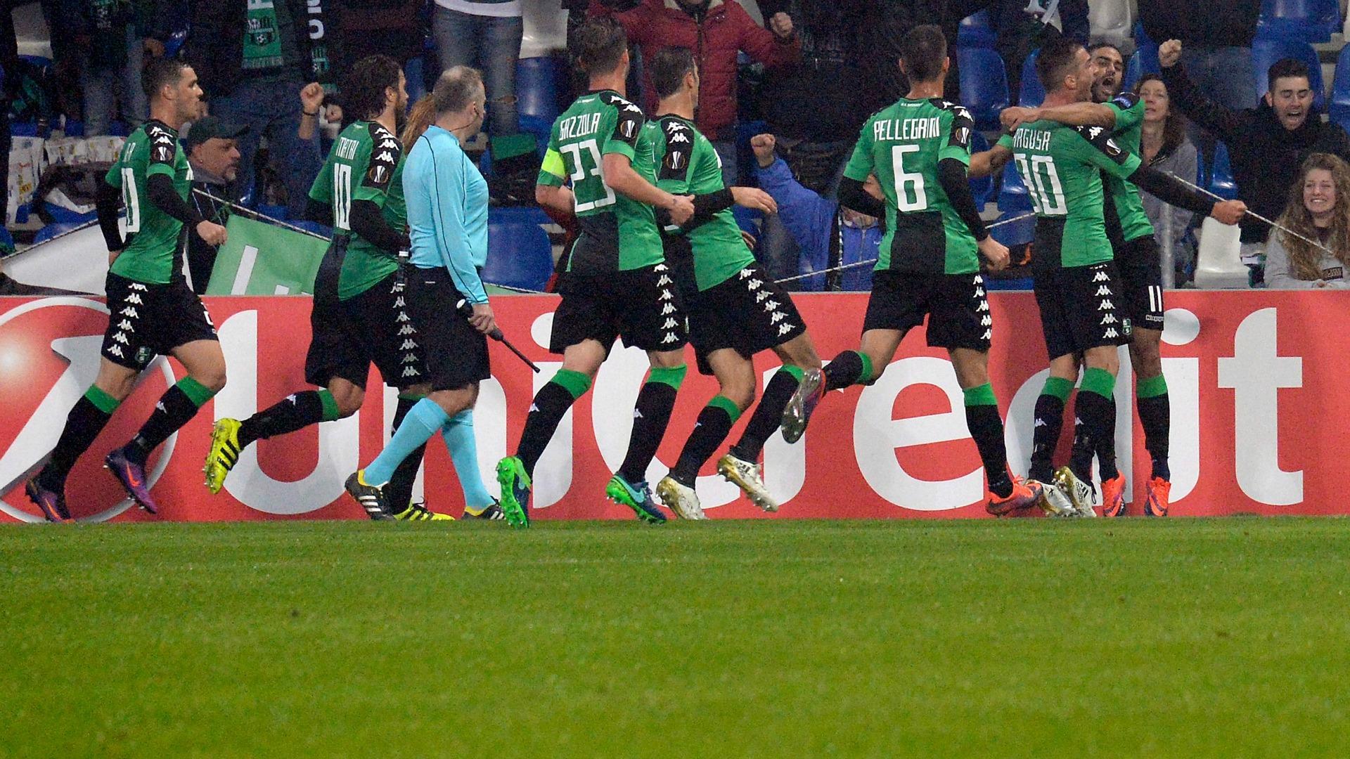 Sassuolo celebrating Sassuolo Austria Vienna Europa League 3112016