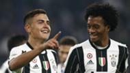 Paulo Dybala celebrates with Cuadrado Juventus Udinese Serie A 15102016