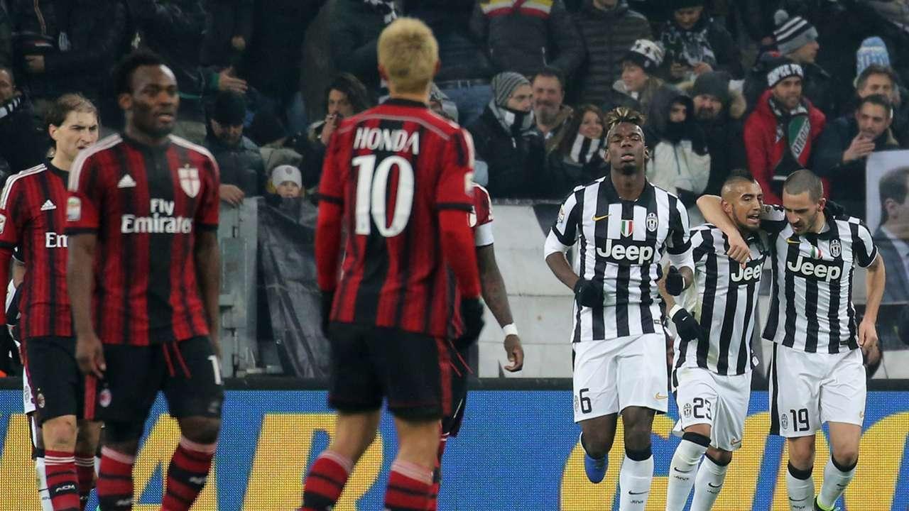 Juventus players celebrating Juventus Milan Serie A 02072015