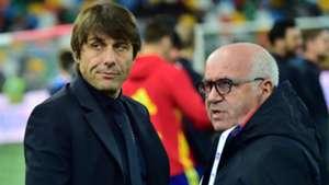 Antonio Conte and Carlo Tavecchio before Italy Spain friendly 24032016