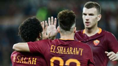 Roma players celebrating against Palermo Serie A 23102016