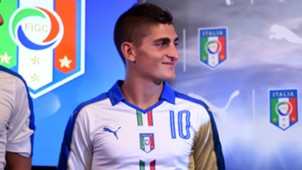 Marco Verratti posing with new Italy away shirt