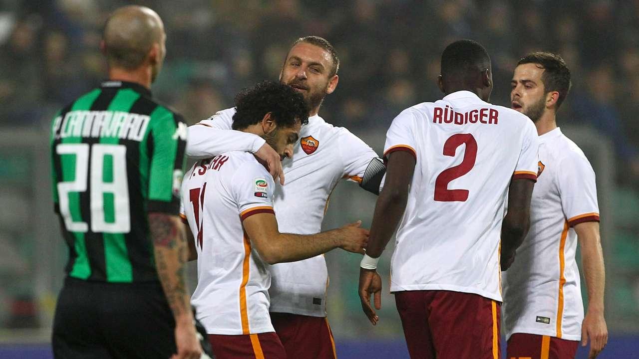 Roma celebrating Sassuolo Roma 2022016 Serie A