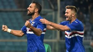 Fabio Quagliarella celebrating Sampdoria Inter Serie A 30102016