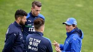 Italy training session Antonio Conte Antonio Candreva Stephan El Shaarawy Federico Bernardeschi 03062016