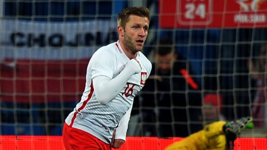 Jakub Blaszczykowski celebrates his scoring Poland Serbia friendly 23032016