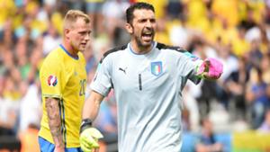 Gigi Buffon Zlatan Ibrahimovic Italy Sweden Euro 2016