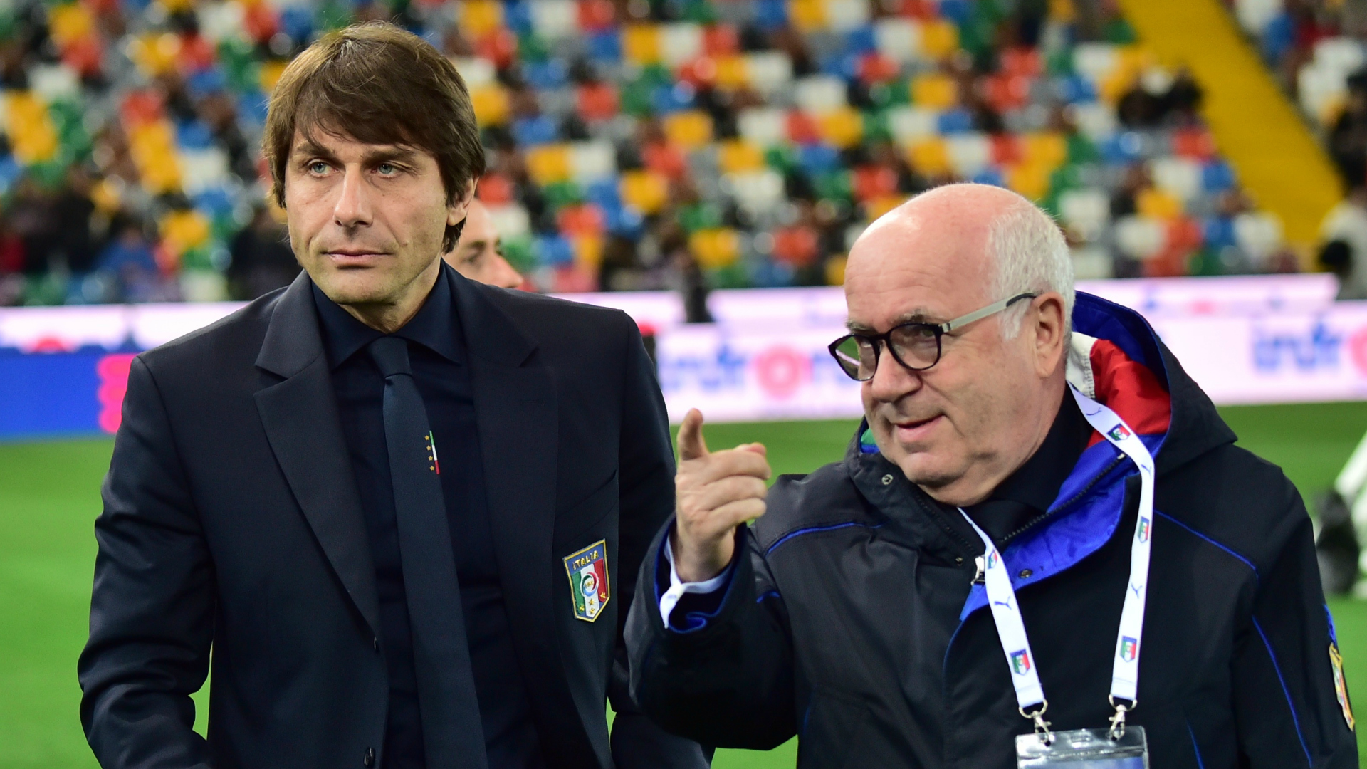 Antonio Conte and Carlo Tavecchio before Italy Spain friendly 24032016