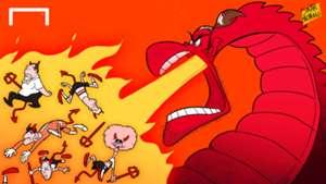 Cartoon - Dragon Bale breathes fire over devils of Belgium