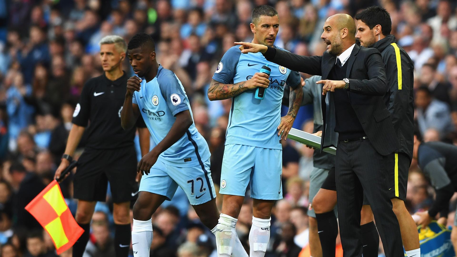 Pep Guardiola Alexandar Kolarov Manchester City