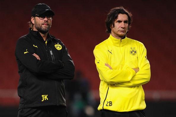 Borussia Dortmund head coach Jürgen Klopp and assistant Zeljko Buvac