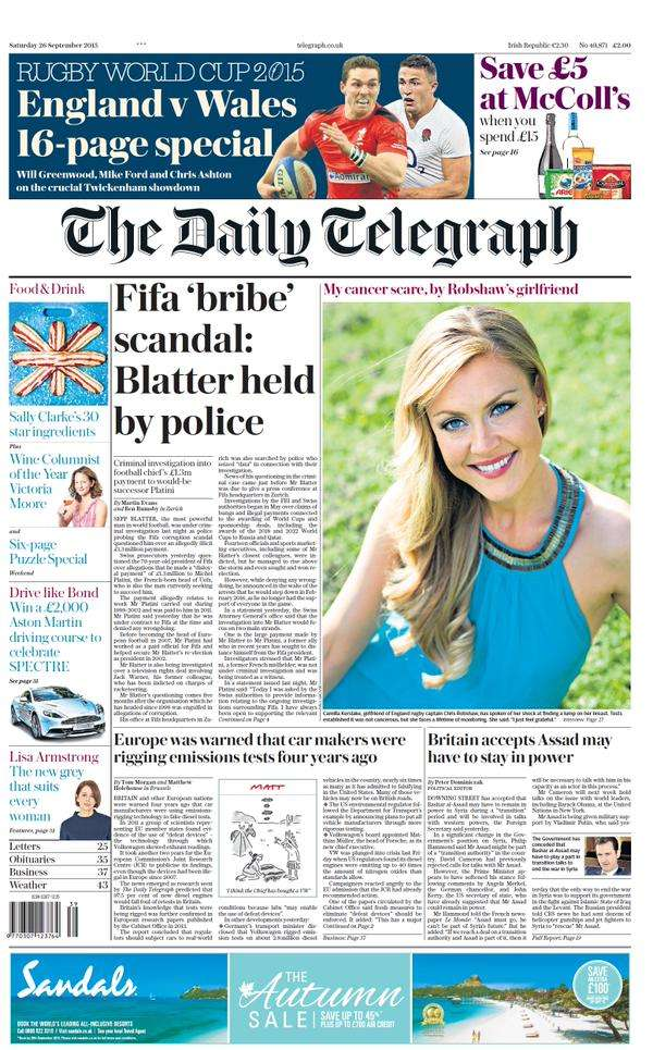 The Daily Telegraph front page...