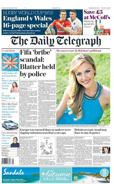 The Daily Telegraph front page 26 September 2015