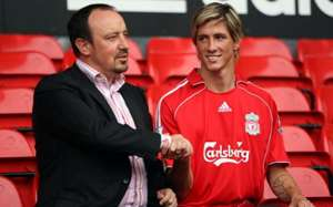 Fernando Torres at Liverpool unveiling with Rafael Benitez
