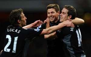EPL, Arsenal v Liverpool, Jordan Henderson, lSteven Gerrard and Lucas Leiva