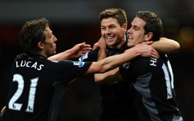 EPL, Arsenal v Liverpool, Jordan Henderson, lSteven Gerrard and Lucas Leiva