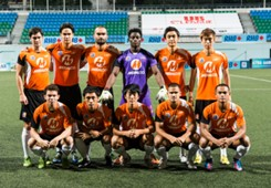 Loyola Meralco Sparks team photo at 2013 Singapore Cup