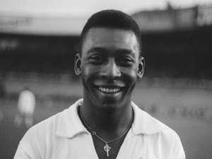 Brazilian striker Pele, wearing his Sant