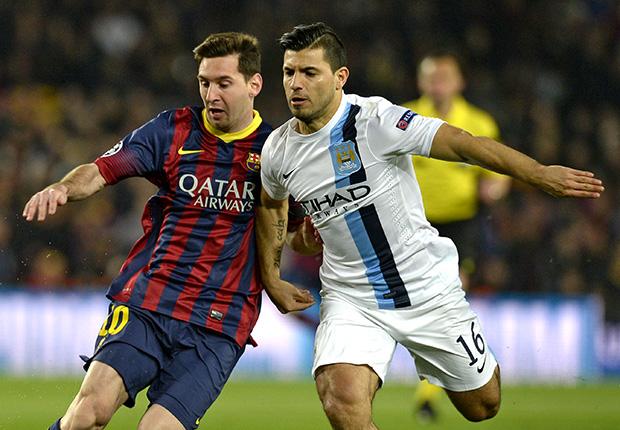 Lionel Messi Barcelona Sergio Aguero Manchester City Champions League 03122014