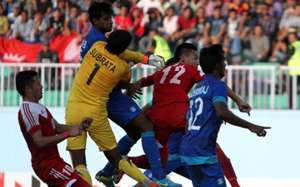 Subrata Paul, Bikram Lama, India vs Nepal, SAFF Cup 2013