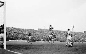 26 April 1964; Paddy Ambrose, Shamrock Rovers, in action against goalkeeper Kevin Blount, Cork Celtic. FAI Cup Final, Shamrock Rovers v Cork Celtic