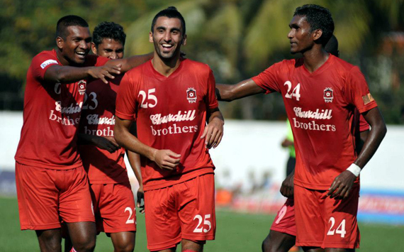 Akram Moghrabi celebrating with team-mates, Churchill Brothers SC vs Prayag United SC, I-League