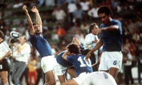 The Italian team celebrate 1982 World Cup West Germany Italy