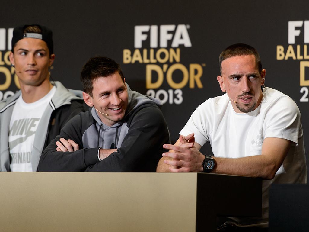 Ronaldo,  Ribery và Messi tại buổi lễ trao giải Ballon d'Or 2013