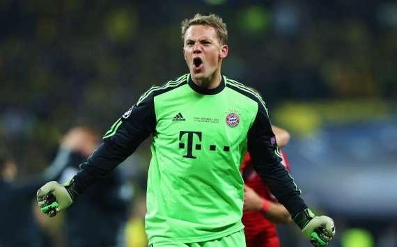 Manuel Neuer celebrates for Bayern Munich (Goal 50)